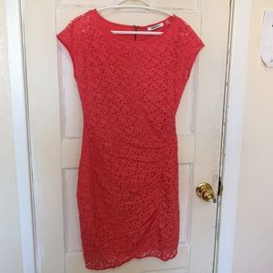 DKNYC Pink Coral Ruched Lace Fitted Bodycon Dress